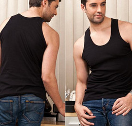 Wholesale 2013 Summer Fashion Hot Sale Mens Tank Top Gray Black White Sleeveless Collarless Blend Vest Undershirt JM