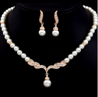 Wholesale Rose Gold Color Cream Glass Pearl and Rhinestone Crystal Bridal Necklace and Earrings Jewellery Set