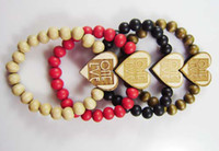 Wholesale GOOD WOOD The heart shaped bracelet NYC Wooden Hip hop Beaded rosary jewelry Best gift C0451
