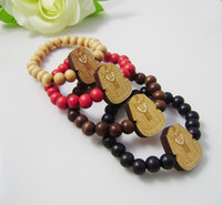Wholesale Wooden bracelet Egyptian Pharaoh Hip hop GOOD WOOD NYC Beaded rosary jewelry Best gift for U C0564