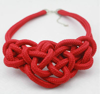 Wholesale Promotion Women Neon fluorescence Necklace Cotton Cord Braid Chunky Statement Necklaces Handcraft Jewelry