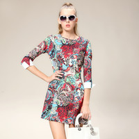 Wholesale 2013 New women occupational dress cute suit ad sleeve Western fashion plus size suits career dresses colorful printing round neck dress DHL