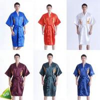 Wholesale men s costume robe pajamas nightgown pajamas embroidered dragon costume