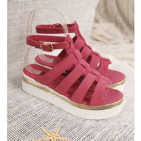 Wholesale 2013 summer new style metallic suede buckle Roman sandals muffin cross soled shoes with thin