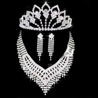 Crown handmade costume jewelry - Handmade Bridal Jewelry Princess Crown Classical Necklace Earrings Costume Jewellery CN024