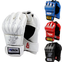 Wholesale New Grappling MMA Gloves PU Punching Bag Boxing Gloves Black White W8861