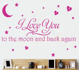 I Love You To The Moon And Back Again Wall Quote Decal Removable Vinyl Sticker Decor  Kids room Art Quote wall decal saying stickers