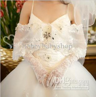 Wholesale Lace beautiful wedding dress Ladies ivory Stretchy Satin gloves wedding bridal opera