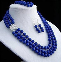 blue jade earrings - SET NEW JEWELRY TIBET MM Beads amp lapis lazul Necklace