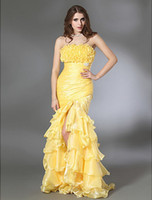 Daffodil ruffle yarn - New Fashion Cheap Prom Dresses Trumpet Mermaid Strapless Floor length Ruffles Tiers Side Draping High Front Slit Ice Yarn