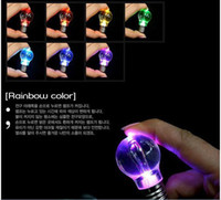Wholesale LED Flashlight Light Bulb Key Ring Keychain Lamp Torch rainbow color necklace