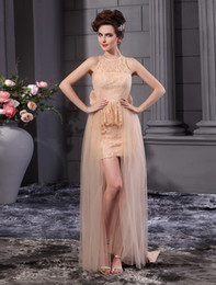 Wholesale Grace Champagne Sheath Jewel Neck Bow Wedding Dress For Bride crystal u6 Zw
