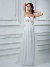 Wholesale Romantic Ivory Sheath Sweetheart Strapless Empire Waist Beading Chiffon Wedding Dress sheer u5 B3