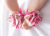 Wholesale Fashion Foot Flower Foot Wear Feet Band Baby Shoe Flower Foot Ties Barefoot Socks Shoes Flowers