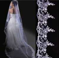 "Tulle Lace Edge Three-Layer EMS ! Upscale bridal veil! 300CM length white embroidery ""car bone flower"" bridal headdress! a bride veil Wedding veil 10pcs lot"