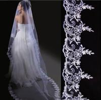"Tulle Lace Edge Three-Layer EMS ! Upscale bridal veil! 300CM length white embroidery ""car bone flower"" bridal headdress! a bride veil Wedding veil 10pcs lot"