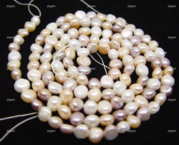 freshwater genuine baroque Pearl Loose gem mix color 6-7mm