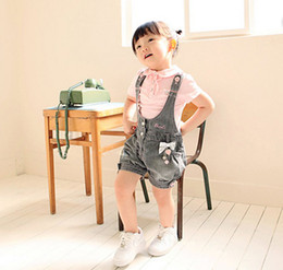 Wholesale Summer Children clothing new style lovely Loli cowboy girls suit short sleeves T shirts Condole belt shorts baby sets size sets