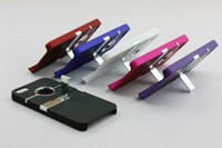 Wholesale Chrome metal ring Hole Rear Back Case Cover with Stand Holder For iphone case colors