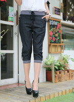 Wholesale Women Plus Size Elastic Waist Striped Jeans Capris XXXL d5322