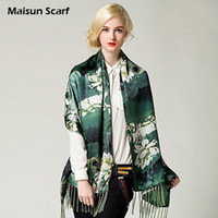 Wholesale 190 x cm Silk crepe satin plain mm tassels fashion scarf women long shawls printed flower scarves