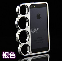 brass knuckles rings - Best price Knuckle Ring Brass Marmoter Four Finger Rings Back Case for iphone G Luxury Accessories