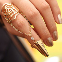 Wholesale Fashion ring nails personality rose ring chain punk style ring jewelry LM_ R053