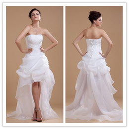Wholesale 2013 New Cheap Front Short long back Beach Bridal Gowns Backless Destination Wedding Dresses