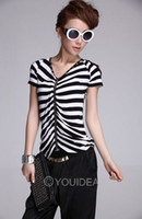 Wholesale Sexy Trendy front Off Shoulder Stripe V Neck Zipper Women T Shirt Buttons Top Blouse Comfortable Cotton Material free size