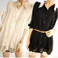Wholesale latest spring and summer long sleeve Hollow Lace lapel Lantern sleeve Chiffon loose shirt D