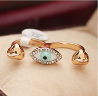 Wholesale Fashion double finger ring punk style Evil Eye Ring jewelry crystal rings jewelry LM_ R055