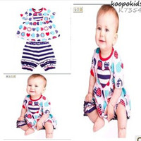 Wholesale hot sale Baby clothing Color stripe love fruit suit baby T shirt pants sets Baby suit Children clothing Children s Outfits
