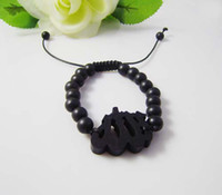 Wholesale Good Wood Handmade Bracelet Allah Pendant Hip Hop Fashion Beaded Jewelry Colors Best Gift C0574