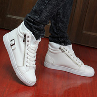 Lace-Up Men  Free shipping men's korean fashion sneakers high tops 2013 designer zipper casual shoes black white