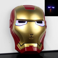 Masques à capuche Cosplay Glowing Iron Man Mask Halloween Masks Make up Toy Kids Boys COOL