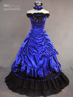 Wholesale New Style A line Layered Royal Blue Ruffle Satin Wedding dresses gothic victorian dress Bridal dress