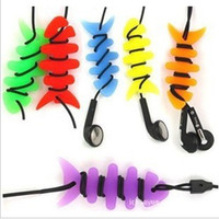 Wholesale high quality Silicone rubber fish bone earphone cable winder fun Mixed color