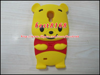 winnie the pooh s4 - 3D winnie the pooh bear teddy Soft silicone gel cartoon Case for Samsung galaxy S4 SIV I9500 animal cover back yellow new skin cases