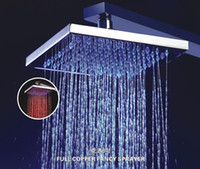 Wholesale Shower shape is square8 inch brass overhead shower temperature sensing colors blue green red led shower head rod B