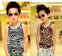 Boy 2-6 year 5-7-9-11-13 2013 Summer 2-6 year boys clothes new style individuality leopard print all cotton baby vest children vest 5 size 10 pcs lot
