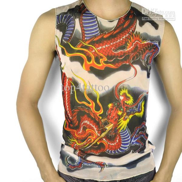 Wholesale t shirt with tattoo sleeves vest ghost pattern for Tattoo t shirts wholesale