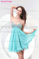 Wholesale Summer Aqua Light Blue Short Beading Sequin Bodice Chiffon A Line Prom Graduation Dresses Gowns Mini Modern Sexy Homecoming Dresses