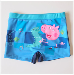 Wholesale Boys Swimming Trunks Cute Cartoon Peppa Pig Dinosaur Pattern Blue Swim Trunks Comfortable Fashion Children Swimwear Beachwear