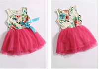 12-18 Months Summer Sleeveless Summer children clothes 2013 Korean new style Broken beautiful silk ribbon sleeveless girls dresses baby dress 2 colour 4 size 4 pcs lot