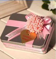 Wholesale 30Pcs Babysbreath With Ribbon Tin Boxes Wedding Favour Gift Box