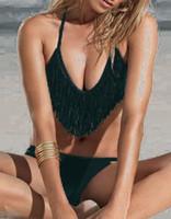 Women Bikinis Fringe Women Sexy Fashion Black Bikini Bathing Beach Swimwear Swimsuit Halter Tassel Fringe Top Padded & Bottoms