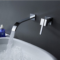 Ceramic Chrome Wall Mounted New wall mounted waterfall single handle chrome finishing bathroom bathtub&basin sink faucet mixer tap