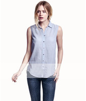 Wholesale New Arrival Breathable Red Plaid Blue Striped White Dot Button Cotton Sleeveless Polo Collar XS S M L XL XXL Women s Shirts HXH3