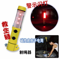 Wholesale 4 in Multifunctional emergency device emergency hammer flashlight seat belt cutter Warning lamp pc free DHL UPS