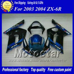 7 Gifts fairings body kit for Kawasaki Ninja ZX-6R 2003 2004 ZX6R 03 04 ZX 6R black blue custom Fairing set ac29